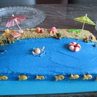 Beach Cake  Cake made for an end of the summer party. Cake is chocolate and covered in BC. Decorations are made from MMF. Fishies are goldfish crackers...