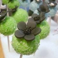 Cutsie Cake Pops   made to replicate fabric used in a little girls dress.