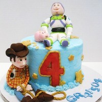 Toy Story Cake  this cake was some what of a pain.. it was hard to do figures on such a small cake.. but i loved Woody and Hamm... Buzz's head looked...