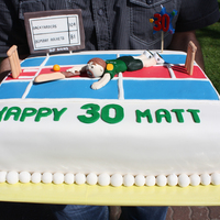 Cricket Theme 30Th Cake  This cake my Sis and I made for her husband's 30th. It was a Chocolate mud cake with a mint buttercream centre. Tasted Delish!!!! We...