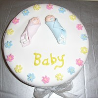 Baby Shower For Deb A white Chocolate Mud with buttercream centreCovered in fondantMade by Jess