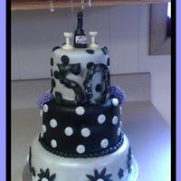 50 & Fabulous! I used mmf for the silver fondant, and pre-made satin ice for the black. To acheive the silver, I colored the fondant a light grey and then...