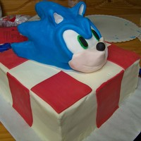 "Sonic The Hedgehog 10"" Cake with RKT Sonic covered in Candy Clay"