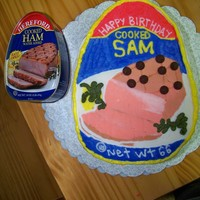 Canned Ham 66th Birthday cake for Sam! He has a habit of giving a canned ham as a gift! Frozen Buttercream Transfer