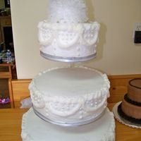 "25 Years... An ""old fashioned"" cake...made to look like the brides wedding cake from 25 years ago! yellow cake with BC"