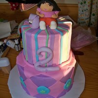"Dora Cake not the best picture in the world... Fondant Dora, and accents on an 8"" and 6"" cake"