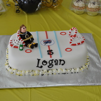 Hockey Cake Hockey themed cake for my son Logan's 5th birthday. Special request for our local Springfield Falcons hockey team and his favorite...
