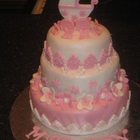 My 1St Baby Shower Cake !!! My 1st Baby shower cake....Every one loved it! Thanks laborn2 for the carriage topper idea!
