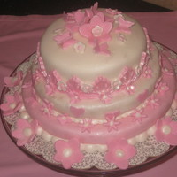 Pink Mini Tiered Shower Cake My 1st tiered fondant cake TFL