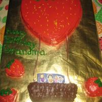 Strawberry Hot Air Balloon Cake made for my Mom, fan of strawberries, hot air balloons, and her grandkids :)
