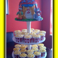 Circus Tent & Popcorn Cupcakes I did this for my son's 2nd birthday which was circus themed. clown and elephant made of fondant. tent is 6 inch carved to look like a...