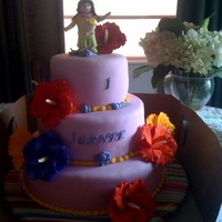 Hawaiian Theme fondant covered, gumpaste hibiscus flowers, gumpaste hula girl.
