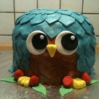 Turquoise And Brown Owl Chocolate fudge cake with cookies 'n cream buttercream icing and fondant decorations. Inspired by eatCakes. This was a cake for an...