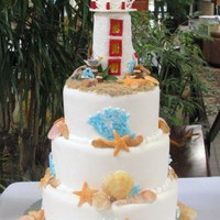 Lighthouse The lighthouse is made from rice crispie treats. The seashells are gumpaste and coral is royal icing sprinkled with colored sugar.