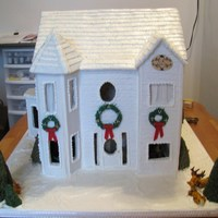 Gingerbread Estate This two story estate took me 3 weeks to make. The gingerbread is covered in white fondant and scored to give a siding look. The roof is...
