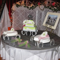 Western Wedding Cake My first attempt at leather look (hard to see in this photo) and lime green fondant.