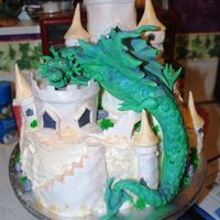 Dragons Lair The dragon was made out of fondant and duster with luster dust to give in a nice effect. The embellishments on the cake were made out of...