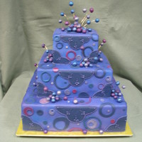 Wonky Cake I did this cake for a fair display. It was very fun. All the circles were dusted with luster dust and little balls on wires popping outa...