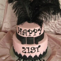 21St Black & Pink Chocolate cake with buttercream filling, covered in ganache, then fondant. Lettering is tappets and the bottom border is done using a lace...