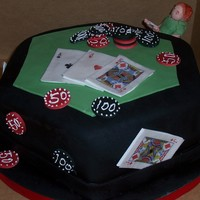Poker Table Grooms Cake Pink Cake Box inspired cake. Man is made from gumpaste and is sitting on a gumpaste chair. Cards are gumpaste with edible image. Chips are...
