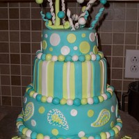 "Teal And Lime Teal and Lime Green birthday cake. The cake also had a 3 on top for ""13"", but it cracked and had to be repaired it wasnt dry when..."