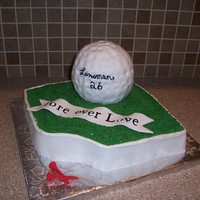 Fore Ever Love  For a bridal shower at a golf course. Ball pan for ball covered in fondant. I cut the letters on the Cricut cake. Couple last name on ball...
