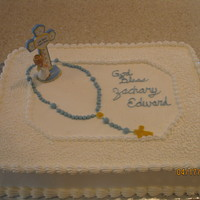 Baptism Cake Baptism cake for my nephew. bc frosting, fondant rosary. cross was on clearance at walgreens after Easter.
