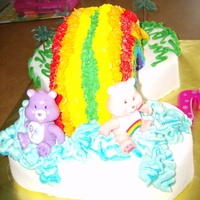 Carebear Rainbow Cake This was my niece's 2nd birthday cake. She wanted carebears that she could keep. I wanted to see if I could get a 3-D rainbow to stand...