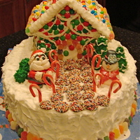 Christmas Gingerbread Cake Fun gingerbread cake for the holidays with snowman and santa made out of fondant.