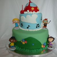 "Little Einsteins Rocket is a carved 4"" cake with fondant. The four characters are toys. Although it was a simple design, it seemed to take FOREVER and..."