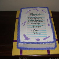 Honey Do Shower Buttercream icing; Rice paper with task list; Tools made from fondant using tappits.
