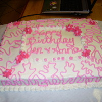 Birthday Cake pink royal icing drop flowers sheet cake