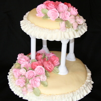 Tiered Cake With Flowers I should have made this cake thicker, but decided to spend my time more on the flowers & how they appeared.