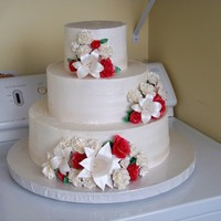 1St Wedding Cake buttercream icing, gumpaste flowers