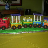Nolan's 1St Birthday I used the marshmellow fondant for the train, also used lollypop sticks for cages. I had fun with this and got alot of compliments!