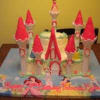 Princess Castle marble cake butter cream frosting