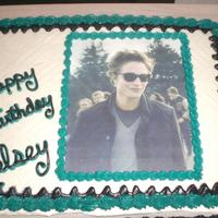 Twlight Cake white cake butter cream icing with edible image of Edward
