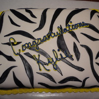 Zebra Cake marble cake butter cream frosting with marshmallow fondant