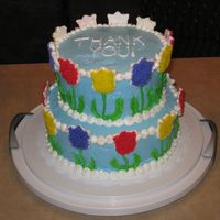 "Thank You Flower Cake This cake was made as a ""Thank You"" to the teachers and staff at the school where I student taught. The cakes are plain white,..."