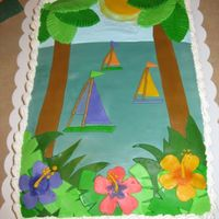 "Sunset Fondant Birthday Cake I was given a napkin as the ""inspiration"" for this cake, and I replicated the napkin design in layered fondant. The napkin is the..."