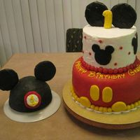 Mickey Mouse 1St Birthday Cake I made this cake for my niece's 1st birthday. The inspiration came from a variety of cakes here on CC. The bottom tier of the larger...