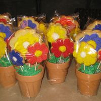 Flower Pot Bouquets Each pot has three sugar cookies that were baked on sucker sticks. They are iced with buttercream. The inside of each pot is lined with...
