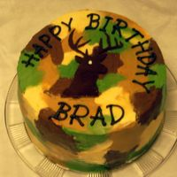 Deer Hunter Cake 3-layer cake, lemon & WASC with raspberry filling. BC camo icing, bc lettering & chocolate fondant deer