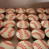 Baseball Cupcakes WASC and chocolate cupcakes, BC under MMF. Royal icing stitches. Thanks for looking!