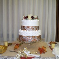 Fall Wedding Cake   small two tier wedding cake with bettercreme icing and fresh flowers