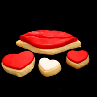 Kissing Lips Cookie Sugar cookie and MMF.