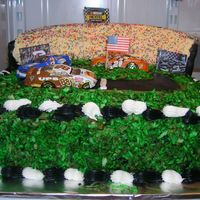 Father's Day Nascar Cake German Chocolate cake, challenging because of the lumpy icing (nuts and coconut)