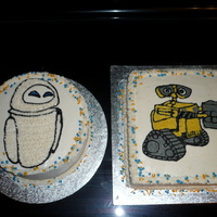 Wall-E And Eve Cakes for my Daughter's 4th Birthday! Wall-E is a 2-layer yellow cake filled and iced with buttercream. Eve is a 3-layer Vanilla cake...