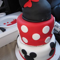Minnie Inspired Minnie mouse cake inspired ... one cake disaster not to be re-lived! LONGEST delivery, supports were giving way & sliding off bases....