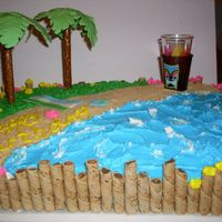 Hawaii Themed Cake Order... Thanks to all CC members for their ideas! The sand is crushed and sifted cinnamon grahams, honey teddy grahams, mini nilla wafers, and...